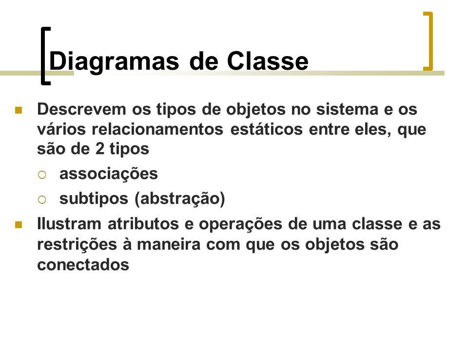 Descrevem os tipos de objetos no sistema e os vários relacionamentos estáticos entre eles, que são de 2 tipos associações subtipos (abstração) Ilustram atributos e operações de uma classe e as restrições à maneira com que os objetos são conectados Diagramas de Classe