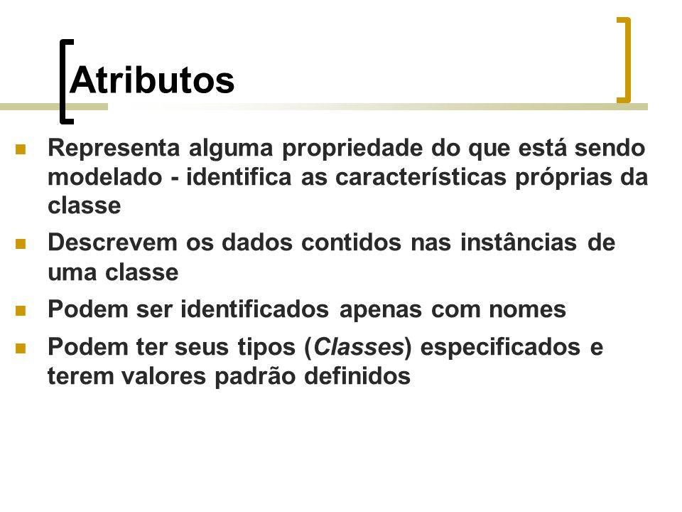 Atributos Representa alguma propriedade do que está sendo modelado - identifica as características próprias da classe Descrevem os dados contidos nas instâncias de uma classe Podem ser identificados apenas com nomes Podem ter seus tipos (Classes) especificados e terem valores padrão definidos
