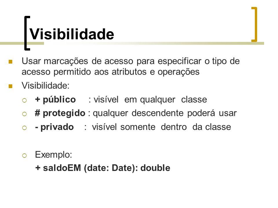 Visibilidade Usar marcações de acesso para especificar o tipo de acesso permitido aos atributos e operações Visibilidade: + público : visível em qualquer classe # protegido : qualquer descendente poderá usar - privado : visível somente dentro da classe Exemplo: + saldoEM (date: Date): double
