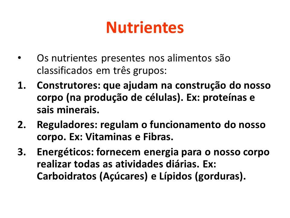 Nutrientes Os nutrientes presentes nos alimentos são classificados em três grupos: 1.Construtores: que ajudam na construção do nosso corpo (na produçã