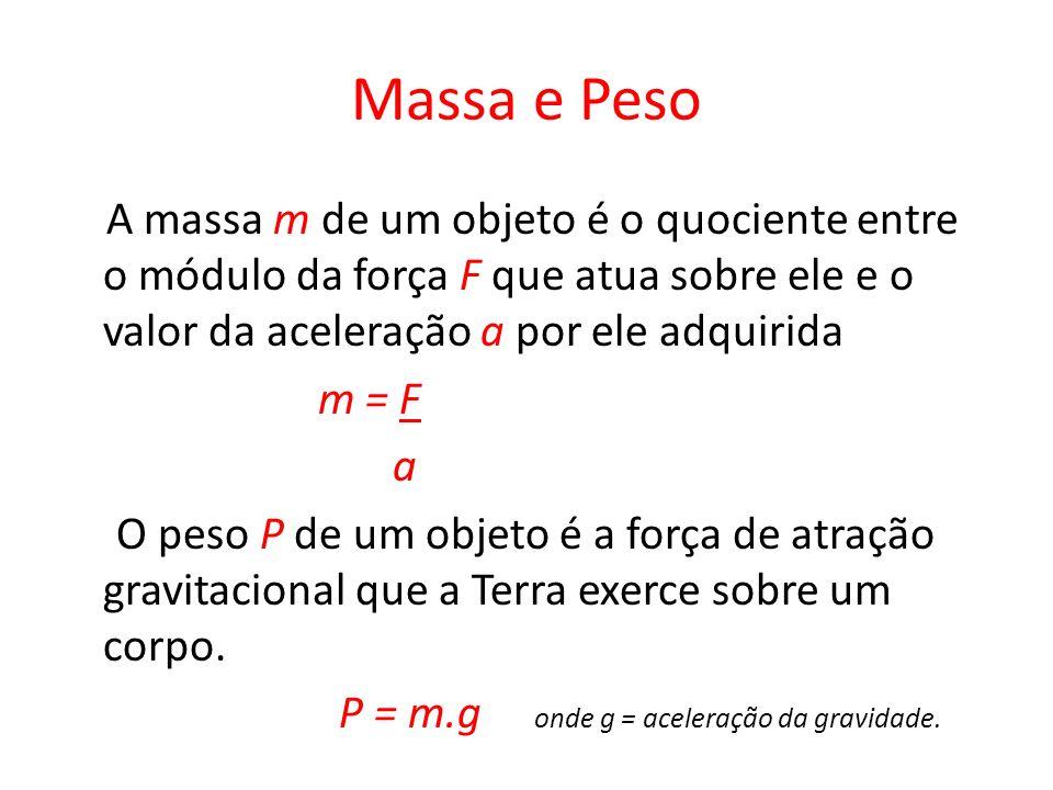Massa e Peso A massa m de um objeto é o quociente entre o módulo da força F que atua sobre ele e o valor da aceleração a por ele adquirida m = F a O p