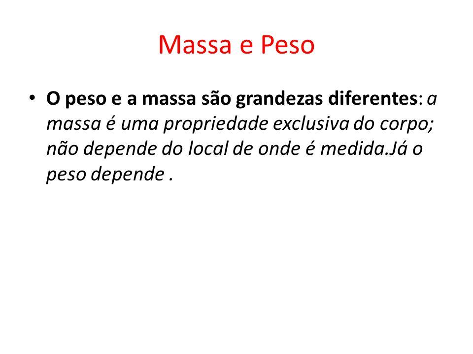 Massa e Peso O peso e a massa são grandezas diferentes: a massa é uma propriedade exclusiva do corpo; não depende do local de onde é medida.Já o peso