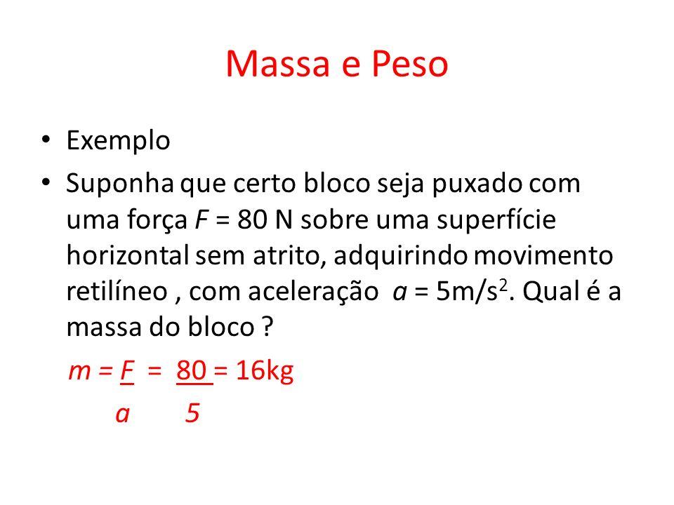 Massa e Peso Exemplo Suponha que certo bloco seja puxado com uma força F = 80 N sobre uma superfície horizontal sem atrito, adquirindo movimento retil