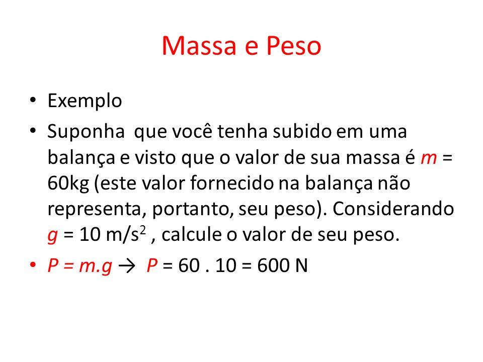Massa e Peso Exemplo Suponha que você tenha subido em uma balança e visto que o valor de sua massa é m = 60kg (este valor fornecido na balança não rep