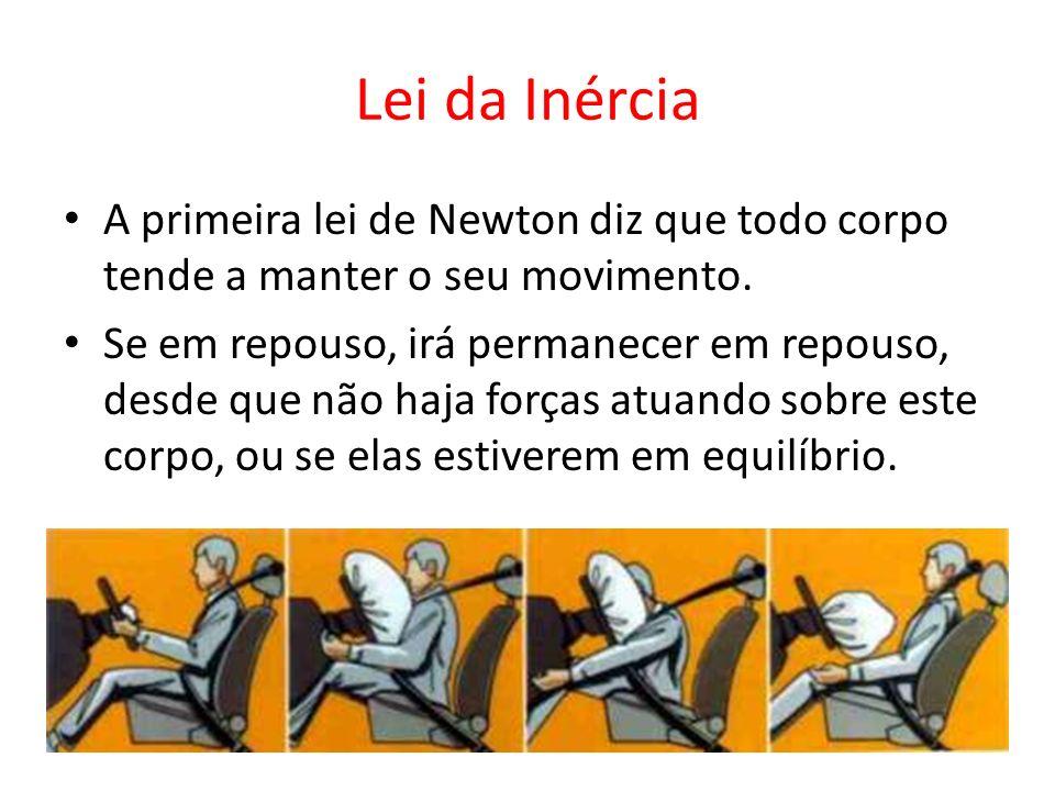 Lei da Inércia A primeira lei de Newton diz que todo corpo tende a manter o seu movimento. Se em repouso, irá permanecer em repouso, desde que não haj