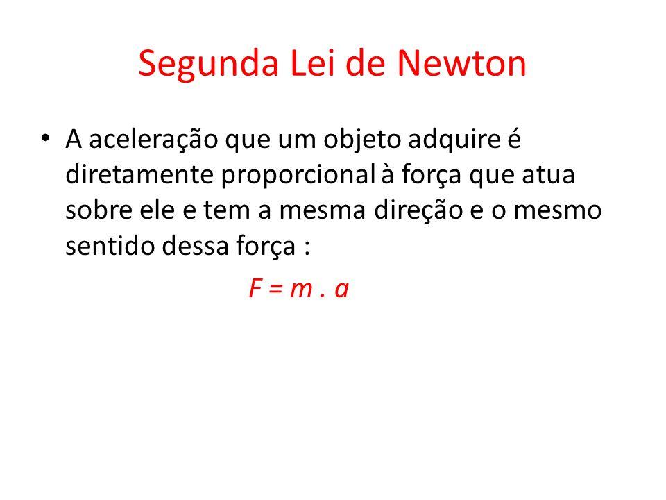 Segunda Lei de Newton A aceleração que um objeto adquire é diretamente proporcional à força que atua sobre ele e tem a mesma direção e o mesmo sentido