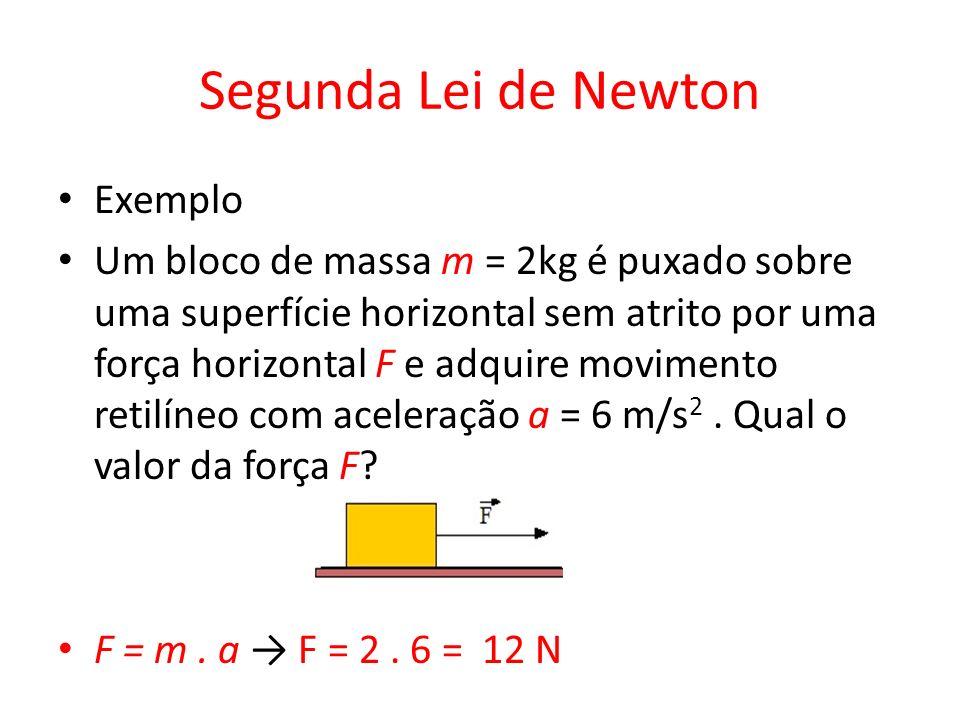 Segunda Lei de Newton Exemplo Um bloco de massa m = 2kg é puxado sobre uma superfície horizontal sem atrito por uma força horizontal F e adquire movim