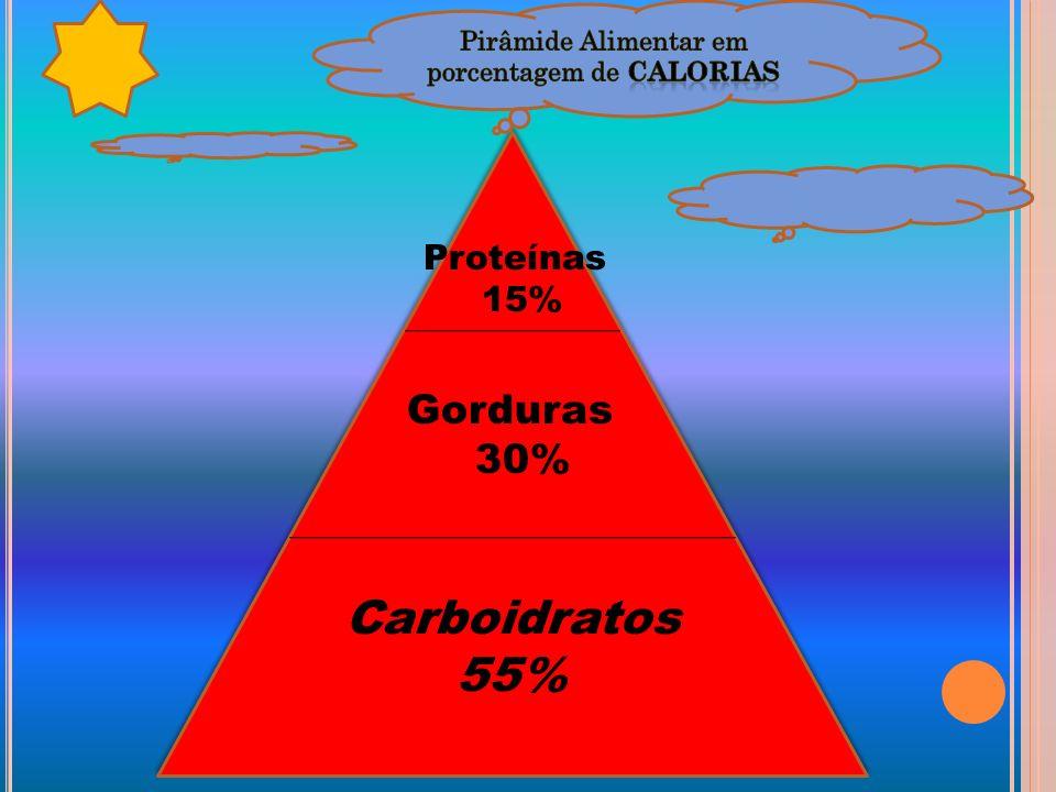 Carboidratos 55% Carboidratos 55% Gorduras 30% Proteínas 15%