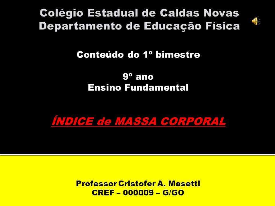Conteúdo do 1º bimestre 9º ano Ensino Fundamental ÍNDICE de MASSA CORPORAL Professor Cristofer A.
