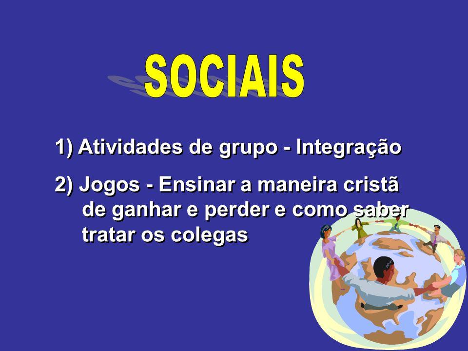 1) Atividades de grupo - Integração 2) Jogos - Ensinar a maneira cristã de ganhar e perder e como saber tratar os colegas 1) Atividades de grupo - Int