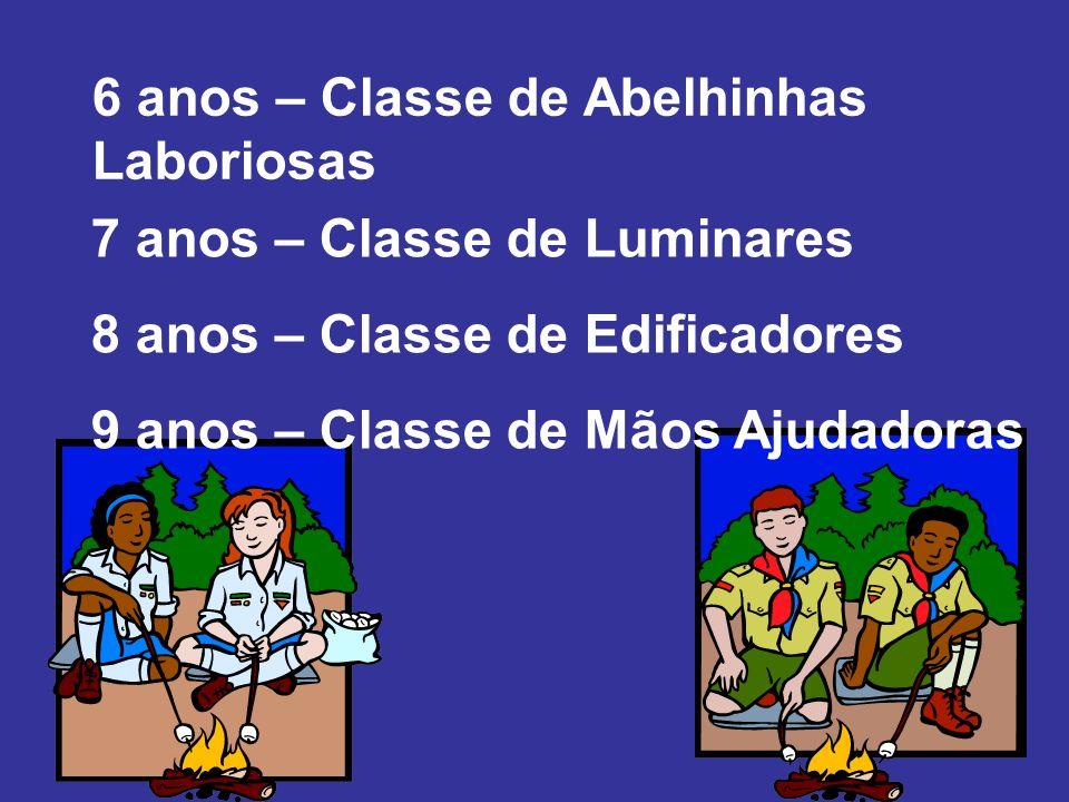 7 anos – Classe de Luminares 8 anos – Classe de Edificadores 9 anos – Classe de Mãos Ajudadoras 6 anos – Classe de Abelhinhas Laboriosas