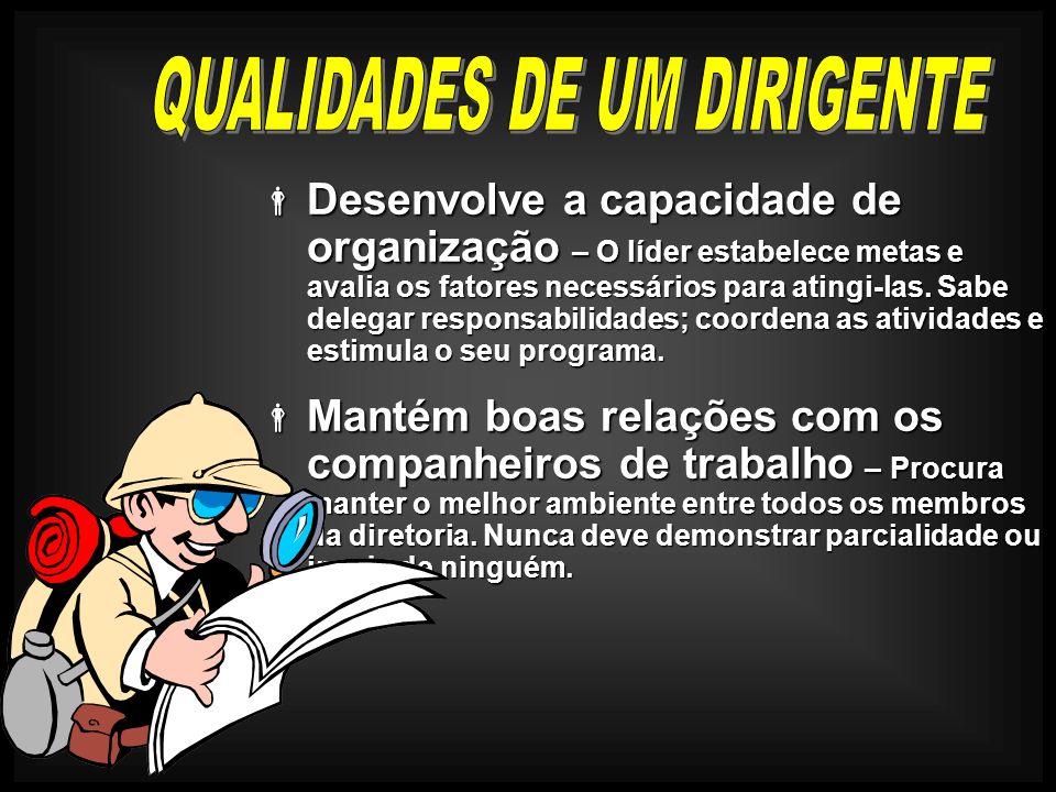 Desenvolve a capacidade de organização – O líder estabelece metas e avalia os fatores necessários para atingi-las. Sabe delegar responsabilidades; coo