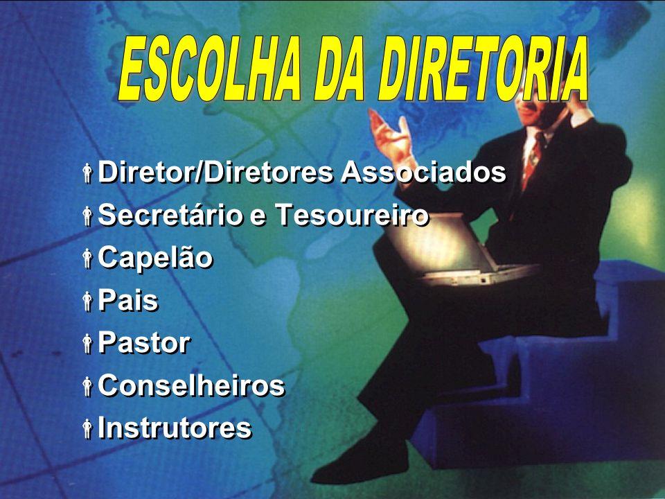 Comissão Executiva Diretor do clube (dirigente) Diretor do clube (dirigente) Diretores associados Diretores associados Secretário Secretário Tesoureiro Tesoureiro Capelão Capelão Pais (mãe/pai) Pais (mãe/pai) Pastor Pastor Comissão Executiva Diretor do clube (dirigente) Diretor do clube (dirigente) Diretores associados Diretores associados Secretário Secretário Tesoureiro Tesoureiro Capelão Capelão Pais (mãe/pai) Pais (mãe/pai) Pastor Pastor
