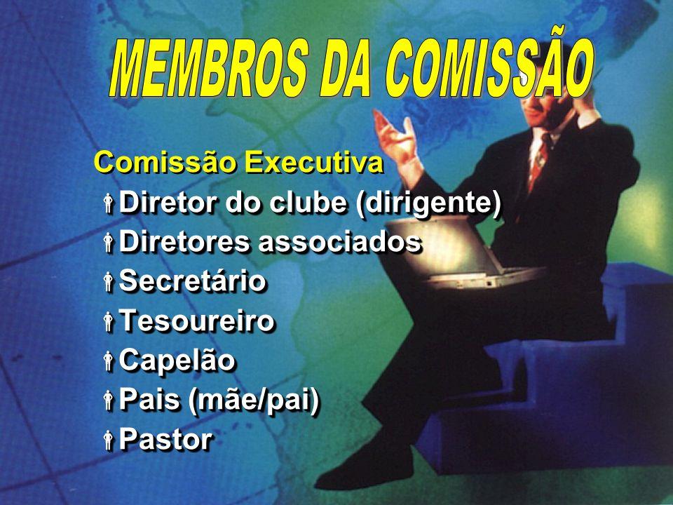 A Comissão de Diretoria Membros da Comissão Executiva Membros da Comissão Executiva Conselheiros Conselheiros Conselheiros em treinamento Conselheiros em treinamento Instrutores Instrutores Ancião (convidado) Ancião (convidado) A Comissão de Diretoria Membros da Comissão Executiva Membros da Comissão Executiva Conselheiros Conselheiros Conselheiros em treinamento Conselheiros em treinamento Instrutores Instrutores Ancião (convidado) Ancião (convidado)
