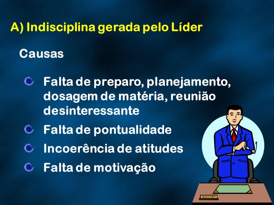 A) Indisciplina gerada pelo Líder Causas Falta de preparo, planejamento, dosagem de matéria, reunião desinteressante Falta de pontualidade Incoerência