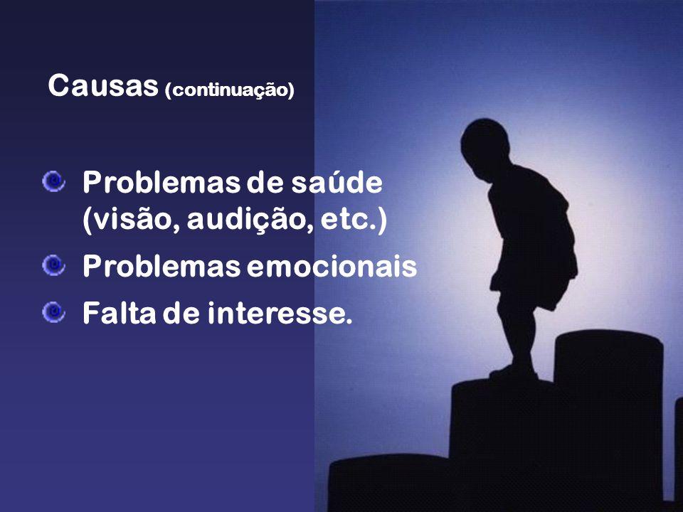 Problemas de saúde (visão, audição, etc.) Problemas emocionais Falta de interesse. Causas (continuação)