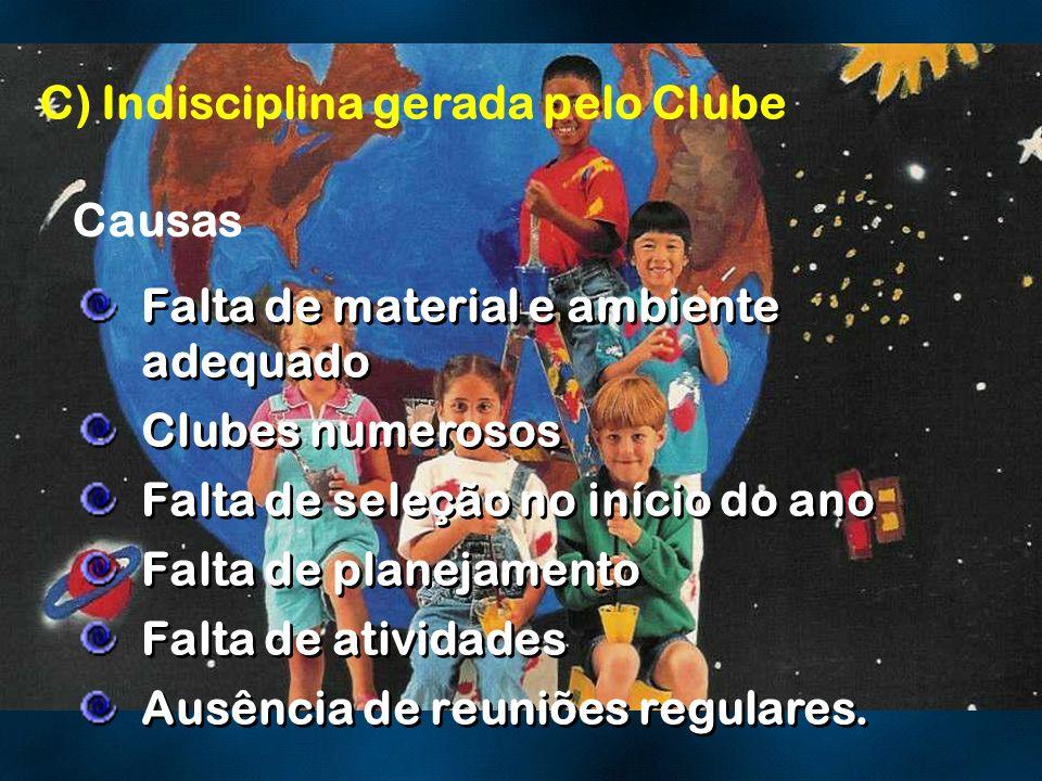 C) Indisciplina gerada pelo Clube Causas Falta de material e ambiente adequado Clubes numerosos Falta de seleção no início do ano Falta de planejament