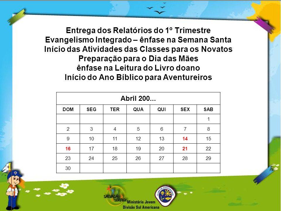 Entrega dos Relatórios do 1º Trimestre Evangelismo Integrado – ênfase na Semana Santa Início das Atividades das Classes para os Novatos Preparação par