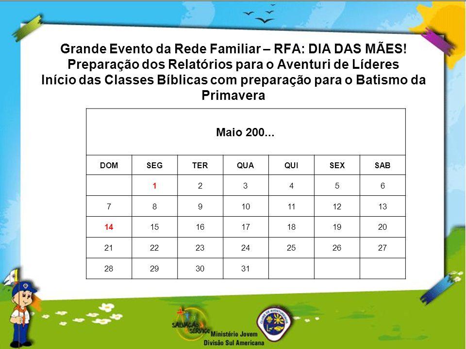 Grande Evento da Rede Familiar – RFA: DIA DAS MÃES! Preparação dos Relatórios para o Aventuri de Líderes Início das Classes Bíblicas com preparação pa