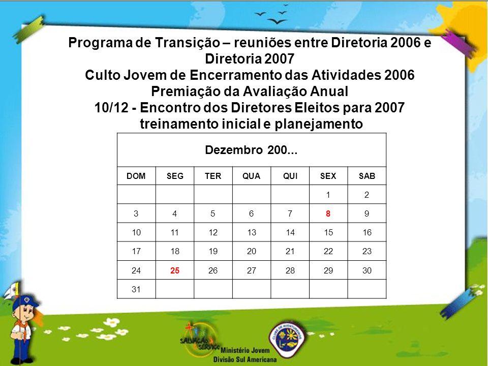 Programa de Transição – reuniões entre Diretoria 2006 e Diretoria 2007 Culto Jovem de Encerramento das Atividades 2006 Premiação da Avaliação Anual 10