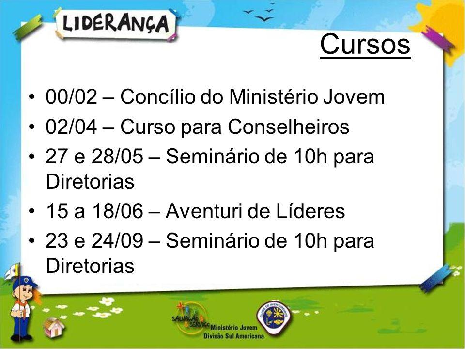 Cursos 00/02 – Concílio do Ministério Jovem 02/04 – Curso para Conselheiros 27 e 28/05 – Seminário de 10h para Diretorias 15 a 18/06 – Aventuri de Líd