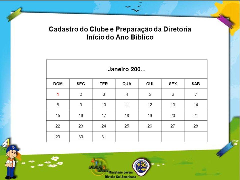 Cadastro do Clube e Preparação da Diretoria Início do Ano Bíblico Janeiro 200... DOMSEGTERQUAQUISEXSAB 1234567 891011121314 15161718192021 22232425262