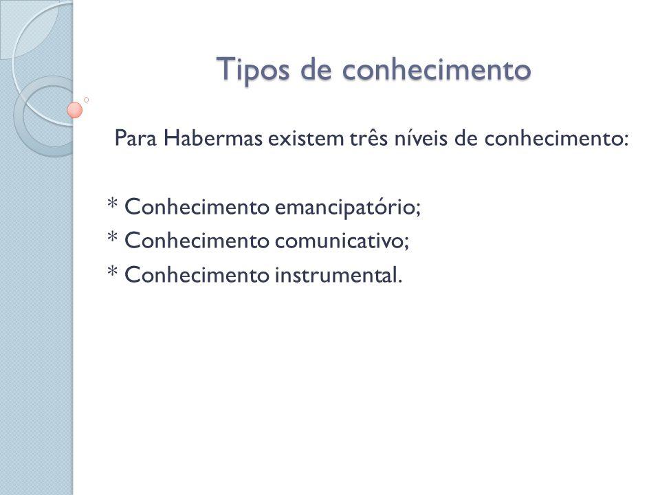 Tipos de conhecimento Para Habermas existem três níveis de conhecimento: * Conhecimento emancipatório; * Conhecimento comunicativo; * Conhecimento ins