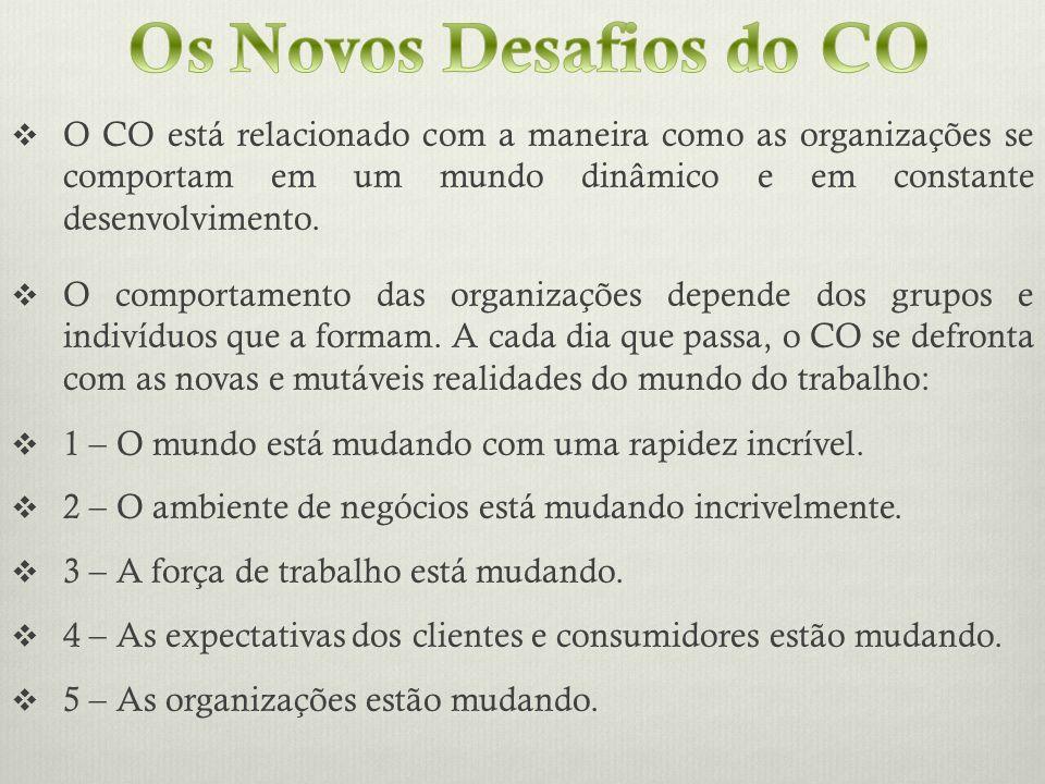 O CO está relacionado com a maneira como as organizações se comportam em um mundo dinâmico e em constante desenvolvimento. O comportamento das organiz