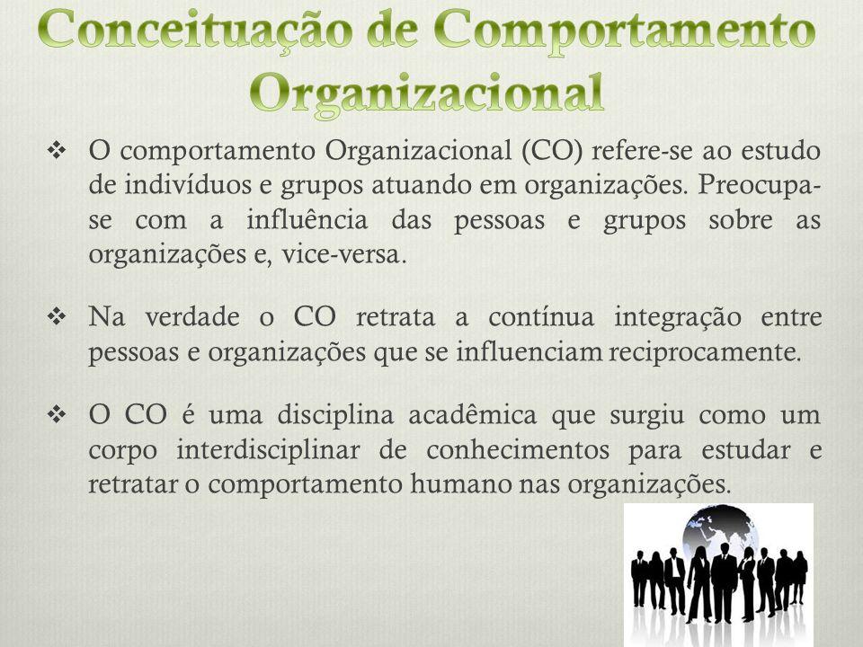 O comportamento Organizacional (CO) refere-se ao estudo de indivíduos e grupos atuando em organizações. Preocupa- se com a influência das pessoas e gr