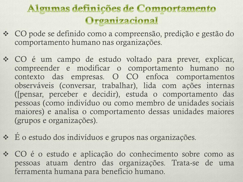 CO pode se definido como a compreensão, predição e gestão do comportamento humano nas organizações. CO é um campo de estudo voltado para prever, expli