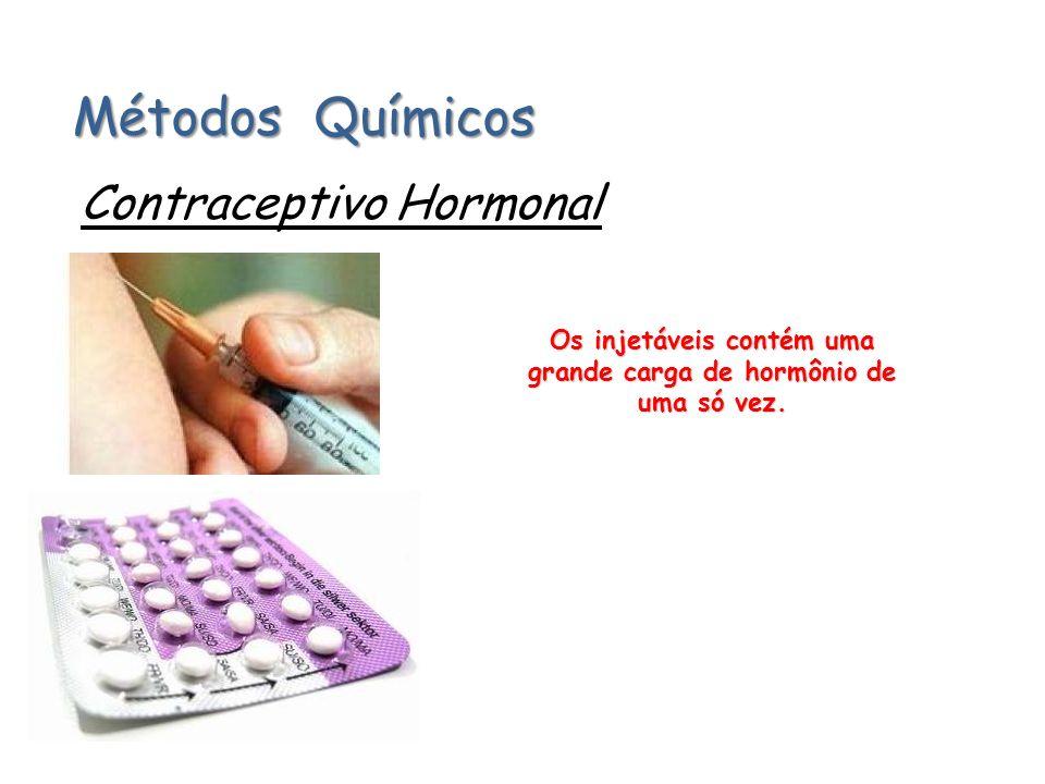 Métodos Químicos Contraceptivo Hormonal Os injetáveis contém uma grande carga de hormônio de uma só vez.