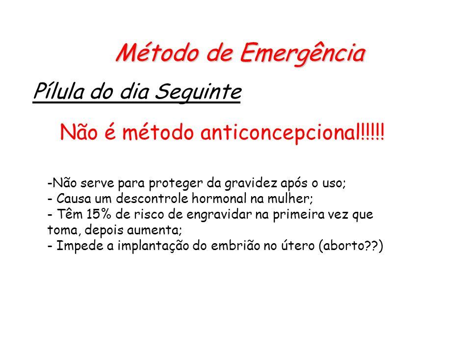 Método de Emergência Pílula do dia Seguinte Não é método anticoncepcional!!!!! -Não serve para proteger da gravidez após o uso; - Causa um descontrole