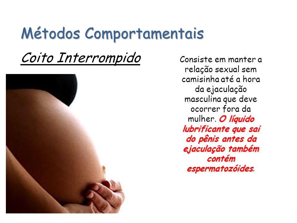 Métodos Comportamentais Coito Interrompido O líquido lubrificante que sai do pênis antes da ejaculação também contém espermatozóides Consiste em mante