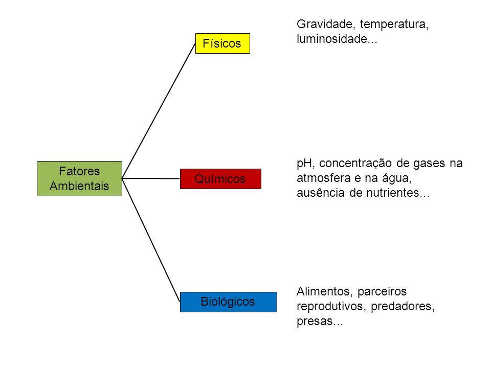 Fatores Ambientais Físicos Químicos Biológicos pH, concentração de gases na atmosfera e na água, ausência de nutrientes... Gravidade, temperatura, lum