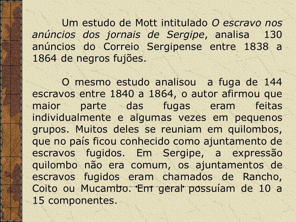 Um estudo de Mott intitulado O escravo nos anúncios dos jornais de Sergipe, analisa 130 anúncios do Correio Sergipense entre 1838 a 1864 de negros fuj