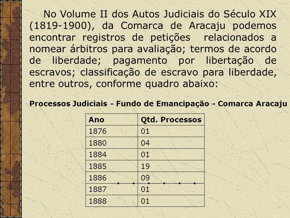 No Volume II dos Autos Judiciais do Século XIX (1819-1900), da Comarca de Aracaju podemos encontrar registros de petições relacionados a nomear árbitr