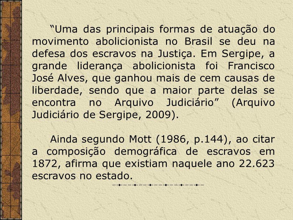 Uma das principais formas de atuação do movimento abolicionista no Brasil se deu na defesa dos escravos na Justiça. Em Sergipe, a grande liderança abo