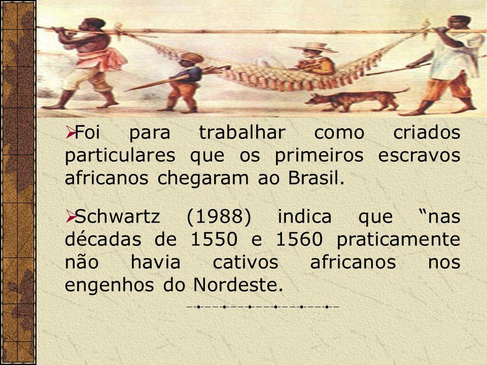Foi para trabalhar como criados particulares que os primeiros escravos africanos chegaram ao Brasil. Schwartz (1988) indica que nas décadas de 1550 e