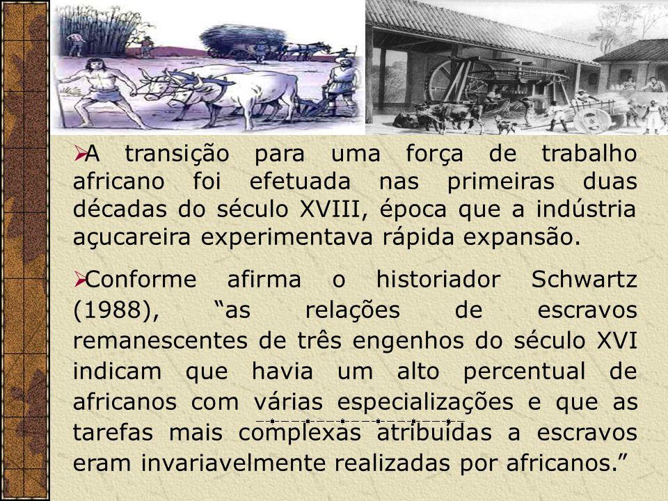 A transição para uma força de trabalho africano foi efetuada nas primeiras duas décadas do século XVIII, época que a indústria açucareira experimentav