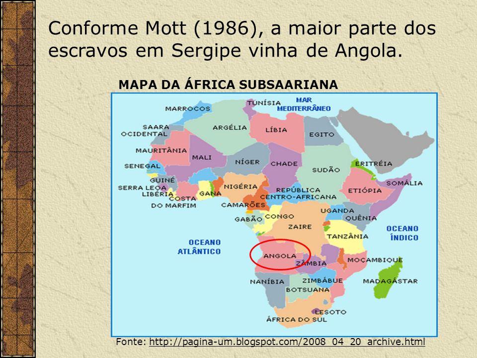 Conforme Mott (1986), a maior parte dos escravos em Sergipe vinha de Angola. Fonte: http://pagina-um.blogspot.com/2008_04_20_archive.htmlhttp://pagina