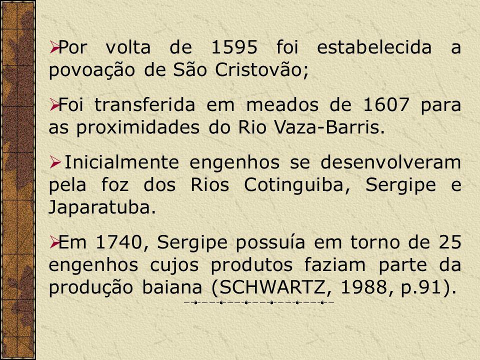 Por volta de 1595 foi estabelecida a povoação de São Cristovão; Foi transferida em meados de 1607 para as proximidades do Rio Vaza-Barris. Inicialment