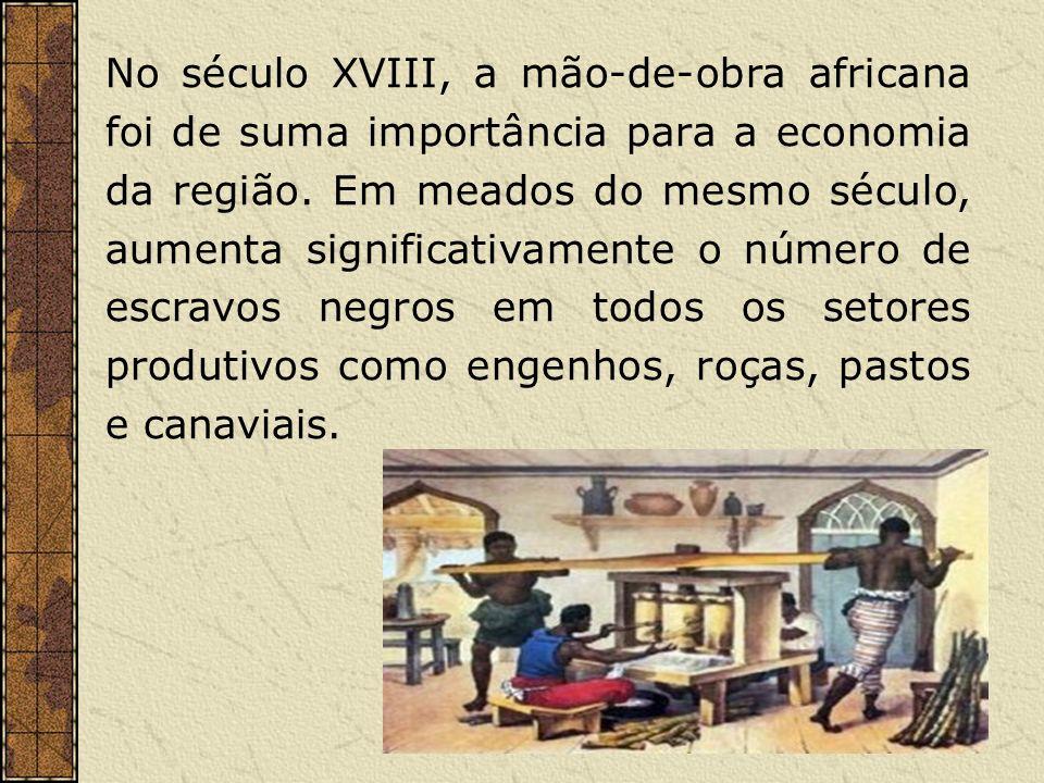 No século XVIII, a mão-de-obra africana foi de suma importância para a economia da região. Em meados do mesmo século, aumenta significativamente o núm