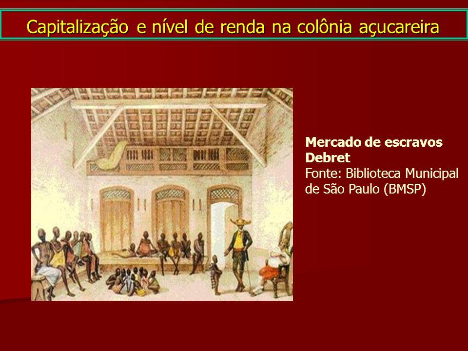 Capitalização e nível de renda na colônia açucareira Mercado de escravos Debret Fonte: Biblioteca Municipal de São Paulo (BMSP)