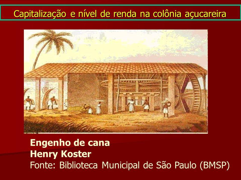Capitalização e nível de renda na colônia açucareira Engenho de cana Henry Koster Fonte: Biblioteca Municipal de São Paulo (BMSP)