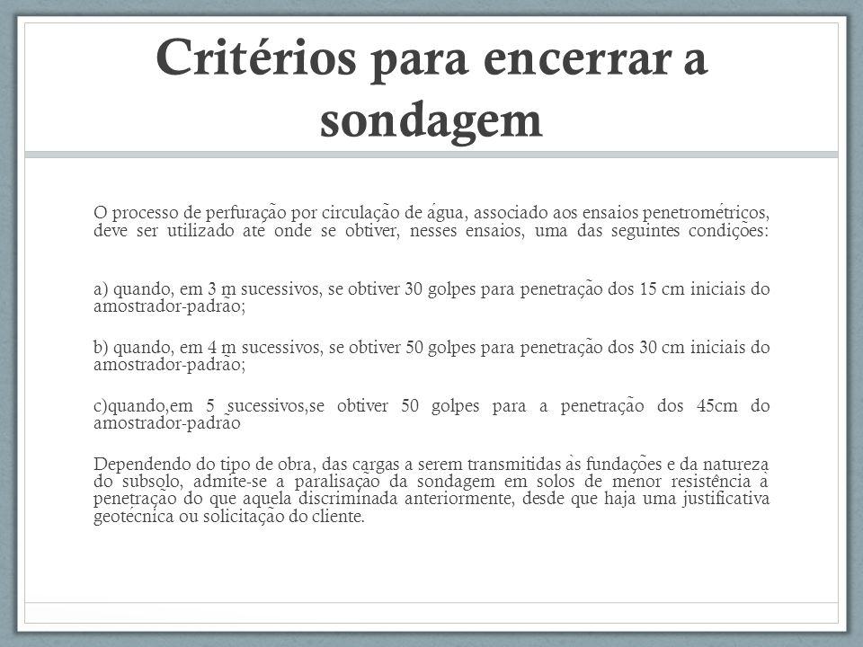 Critérios para encerrar a sondagem O processo de perfurac ̧ a ̃ o por circulac ̧ a ̃ o de agua, associado aos ensaios penetrometricos, deve ser utiliz
