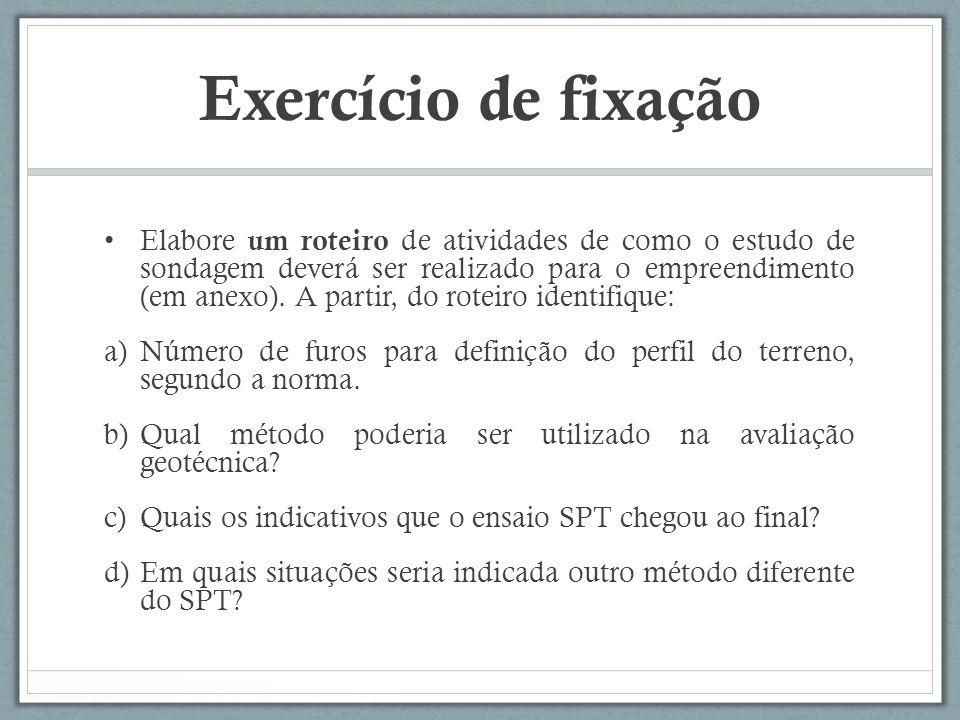 Exercício de fixação Elabore um roteiro de atividades de como o estudo de sondagem deverá ser realizado para o empreendimento (em anexo). A partir, do