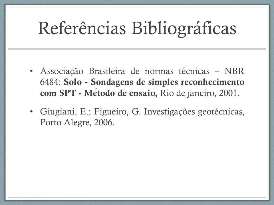 Referências Bibliográficas Associação Brasileira de normas técnicas – NBR 6484: Solo - Sondagens de simples reconhecimento com SPT - Metodo de ensaio,
