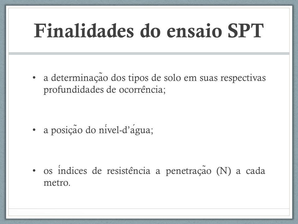 Finalidades do ensaio SPT a determinac ̧ a ̃ o dos tipos de solo em suas respectivas profundidades de ocorre ̂ ncia; a posic ̧ a ̃ o do nivel-dagua; o