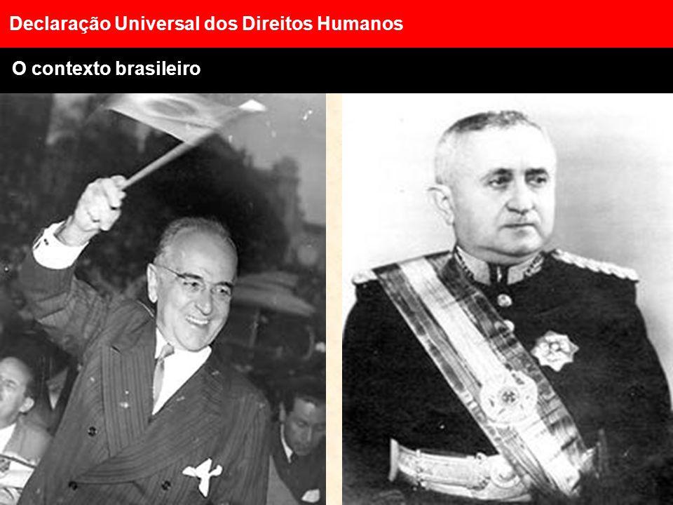 Declaração Universal dos Direitos Humanos O contexto mundial Fim da II Guerra Mundial Início da Guerra Fria Corrida armamentista Avanço das multinacio