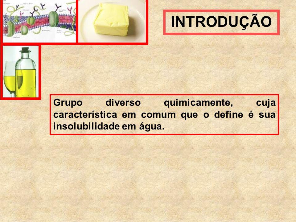 Grupo diverso quimicamente, cuja característica em comum que o define é sua insolubilidade em água. INTRODUÇÃO